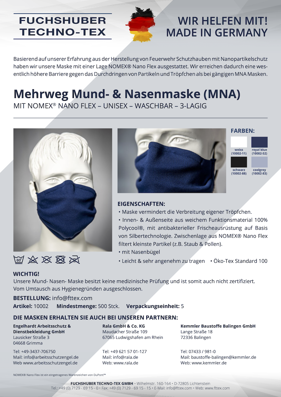High quality reusable MNA mask with NOMEX® Nano Flex