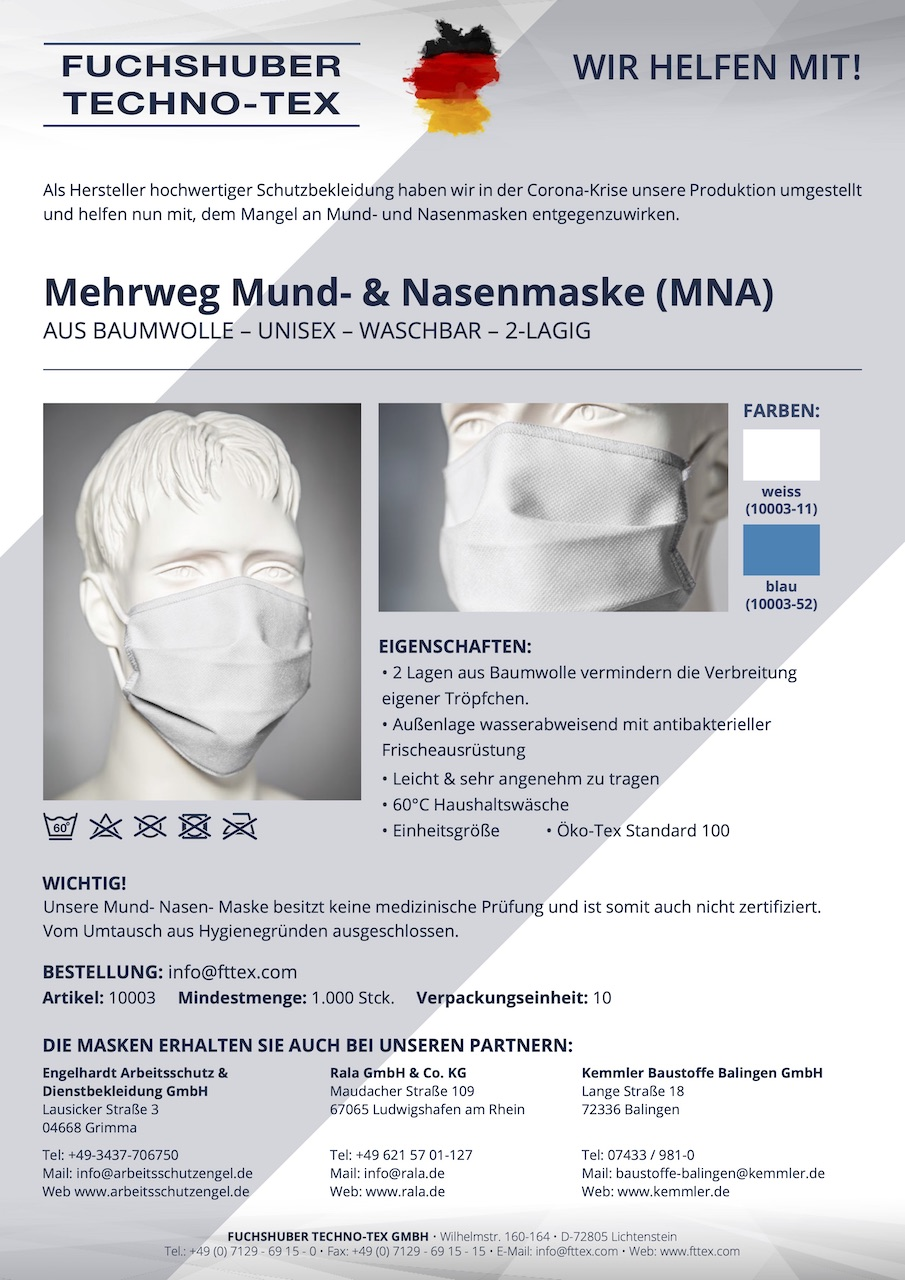 MNA Maske Cotton Basic Art. 10003